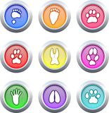 Animal track buttons Stock Images