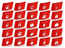 Animal track stickers set Royalty Free Stock Photo