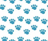 Animal tracks seamless pattern. Dog paws traces repeating texture, endless background. Vector illustration. Animal tracks seamless pattern. Dog paws traces Royalty Free Stock Photography