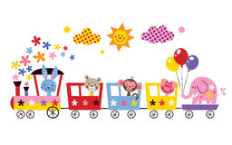 Animal train. Cute animal train kids illustration Royalty Free Stock Image