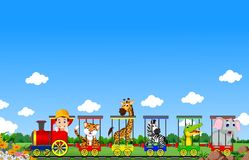 Animal train cartoon Royalty Free Stock Image