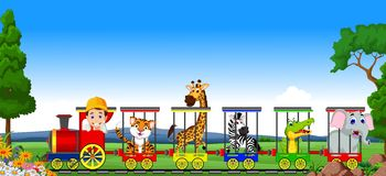 Animal train cartoon Stock Images