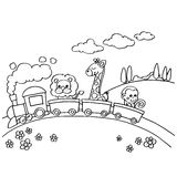 Animal Train Coloring vector Royalty Free Stock Photos