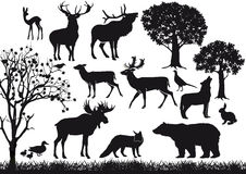 Animal and tree silhouettes Royalty Free Stock Image