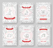 Animal vector brochure cards thin line set. Cute home pets template of flyear, magazines, posters, book cover, banners. Layout domestic wildlife  outline Royalty Free Stock Images