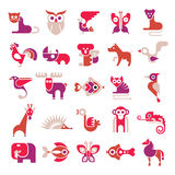Animal vector flat icons Stock Photos