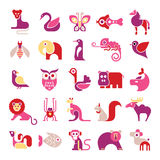 Animal vector icon set Royalty Free Stock Images