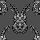 Animal vector seamless pattern. Zentangle stylized doodle animal vector seamless pattern with rabbit heads made in zen art. Ethnic ornate background with Royalty Free Stock Images