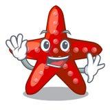 Animal vermelho de ondulação da estrela do mar na areia da mascote ilustração do vetor