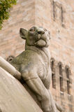 Animal Wall Lioness. The animal wall at Cardiff Castle, designed by William Burgess in 1866. 15 different animals are sculted on the wall Royalty Free Stock Photo