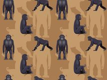 Ape Bonobo Cartoon Seamless Wallpaper. Animal Wallpaper EPS10 File Format Stock Photo