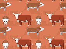 Hereford Cattle Cartoon Seamless Wallpaper. Animal Wallpaper EPS10 File Format Stock Photography