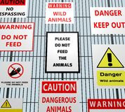 Animal Warning Signs Royalty Free Stock Photography