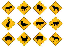 Animal warning signs. Yellow and black Royalty Free Stock Images