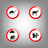 Animal warning signs Stock Images