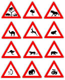 Animal warning traffic signs. 12 various animal warning signs Royalty Free Stock Images