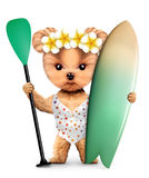 Animal wearing swimsuit and hold surf and paddle Stock Image