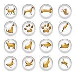 Gold Animal Web Icons Buttons Set Stock Photos