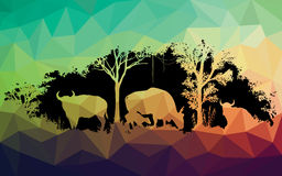 Animal of wildlife is bull or gaur or wild ox vector design Royalty Free Stock Photos