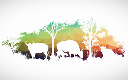 Animal of wildlife is bull or gaur or wild ox vector design Stock Photo