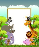 Animal wildlife cartoon with blank sign and forest background