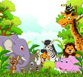 Animal wildlife cartoon with forest background Royalty Free Stock Photos