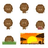 Animal wildlife character set, Lion concept design illustration. Isolated on white background Stock Photos