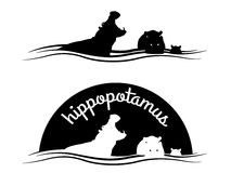 Animal of wildlife ( Hippo ) Vector black white design Royalty Free Stock Photos