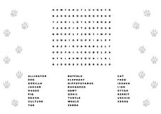 Animal word search. Illustration of a word search game Stock Photography