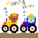 Animal Worker fun cartoon. Animal Worker fun design for website, company, shirt, travel, industry,drawing book Stock Images