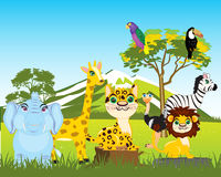 Animal world africas. Animals of the africa on white background is insulated Royalty Free Stock Images