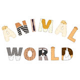 Animal world lettering. Hand drawn vector illustration Royalty Free Stock Photography