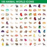 100 animal world set, cartoon style Stock Image