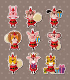 Animal xmas stickers Stock Photography