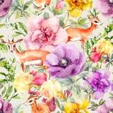 Animal y flores del antílope Estampado de flores de repetición neutral del vintage Watercolour en colores pastel ilustración del vector