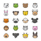 Animal y personajes de dibujos animados fijados de iconos planos coloridos del estilo del icono del color de los animales domésti Foto de archivo libre de regalías
