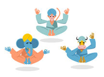 Animal yoga. Blue Elephant yogi. Yogi Red Monkey. Yogi Indian co Royalty Free Stock Photos