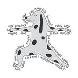 Animal yoga illustration - virabhadrasana pose. Cute yoga dog and text around it vector illustration