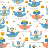 Animal Yoga seamless pattern. Monkey yoga. Animals do yoga. Blue Stock Photos
