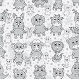 Animal Zodiac Grey Line Paint Seamless Pattern Stock Photo