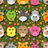 Animal Zodiac Head Seamless Pattern Stock Photos