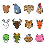 Animal zodiac icon Stock Photos