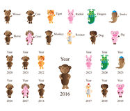 Animal zodiac year set Royalty Free Stock Image