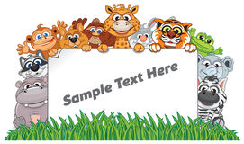 Animal Zoo Banner. Funny Animals with Empty Sign Royalty Free Stock Photo