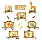 Zoo, a set of animals, stock illustration