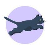 Animale adorabile lanuginoso del fumetto del gattino della razza del gatto del nero del ritratto sveglio dell'animale domestico i illustrazione di stock