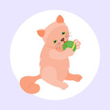 Animale adorabile lanuginoso del fumetto del gattino della razza del gatto del ritratto rosso sveglio dell'animale domestico il g royalty illustrazione gratis