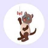 Animale adorabile lanuginoso del fumetto del gattino della razza del gatto di marrone del ritratto sveglio dell'animale domestico illustrazione vettoriale