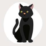 Animale adorabile lanuginoso del fumetto dell'animale domestico della razza del gatto del ritratto sveglio del nero il giovane ed royalty illustrazione gratis
