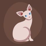 Animale adorabile lanuginoso del fumetto dell'animale domestico della razza del gatto del ritratto sveglio della sfinge il giovan royalty illustrazione gratis